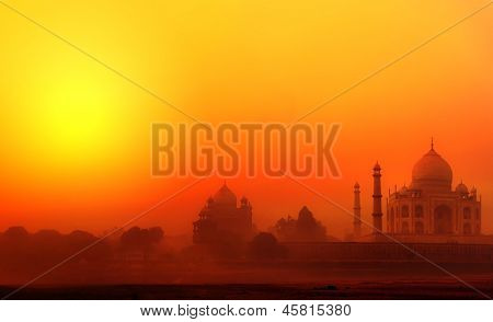India, Taj Mahal. Indian palace Tajmahal world landmark. Sunset landscape background