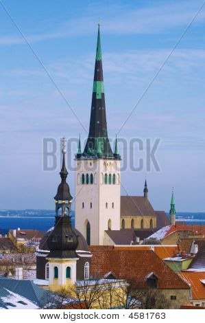 View On Old Church In Center Of Old Tallinn
