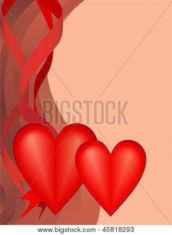 Two Hearts Valentine's Day Holiday,  Raster Illustration.