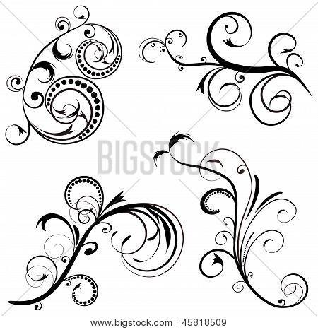 Set Ornament Floral Design, Raster Illustration.