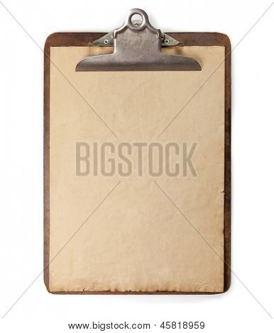 Vintage or antique clipboard and blank paper isolated on white.