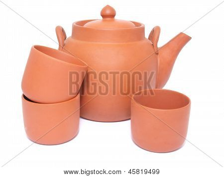 Tea-pot And Three Cups For Tea