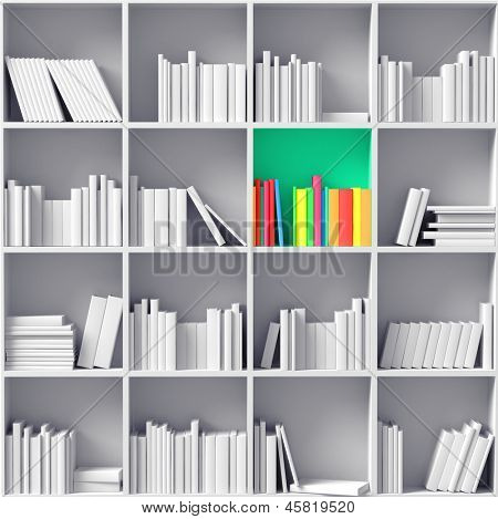 white bookshelves with one color partition   (illustrated concept)