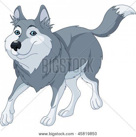 Lobo de dibujos animados lindo ilustración o ejecutar