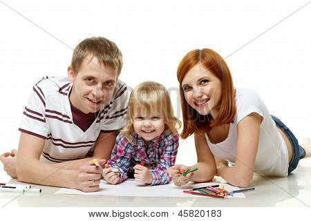 Happy Family Drawing Picture.