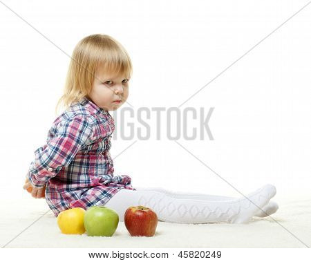 Small Child With Apples.