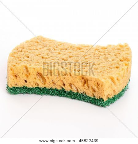 Domestic ordinary sponge isolated over white background