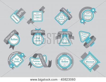 Set Of Cyan Seals With Gray Ribbons