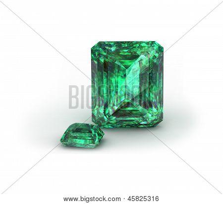 Piedra preciosa verde sobre fondo blanco. Esmeralda,
