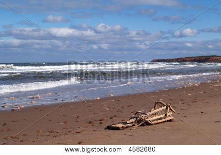 Prince Edward Island Beach With Broken Lobster Trap