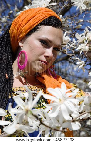 Woman with african pigtails