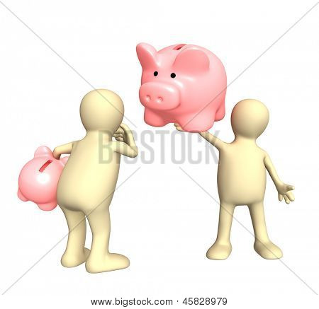 Two puppet with piggy bank. Isolated over white