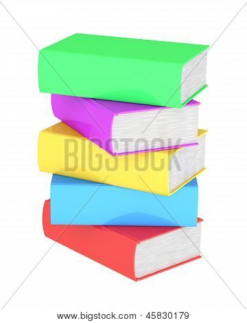 Stack Of Multicolored Books On White Background