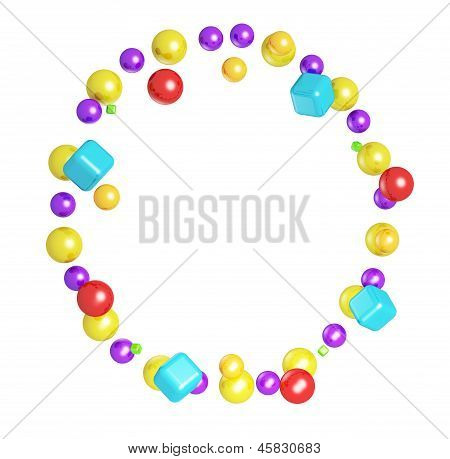 Abstract Frame Made From Colorful Glossy Spheres And Cubes Isolated On White Background