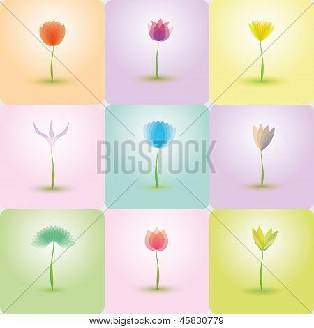 Flowers icon set, nature background