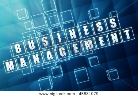 Business Management In Blue Glass Cubes