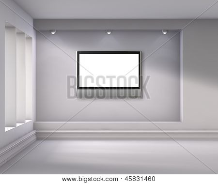 3D Empty Niche With Spotlights And Lcd Tv For Exhibit In The Bright Interior