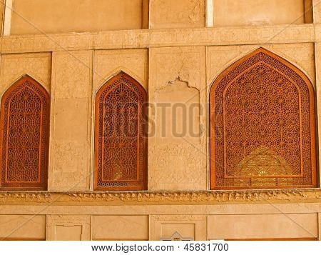 Islamic Pattern Woodern Screen Window In Isfahan, Iran