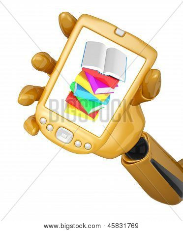 Robotic Hand Hold A Mobile Phone With Stack Of Multicolored Books With Open Book