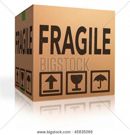 fragile package cardboard box with text