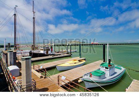 Boats docked at Fisherman's Wharf in San Francisco