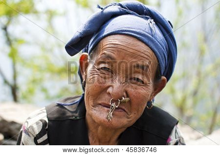 Portrait of an Old Nepali Sherpa Woman