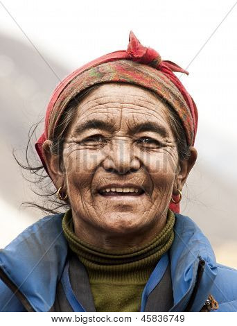 Portrait of Mountain Tribal Woman from Nepal