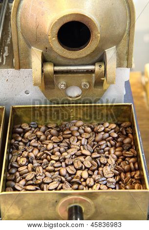 Old Coffee Beans Machine As Gourmet Background
