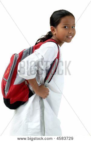 School Girl Bring Bag