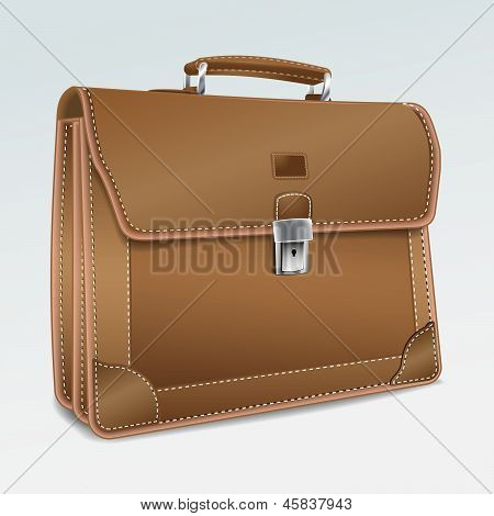 Leather Brief Case on white background.