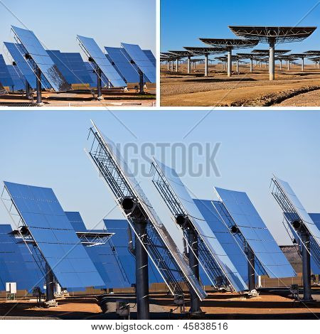 Solar Panels On Bright Blue Sky Background. Renewable Energy