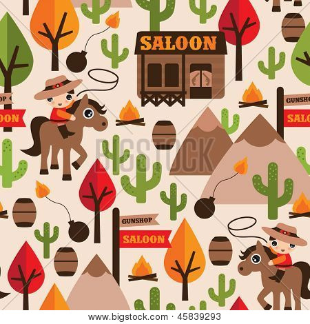 Seamless wild west cowboy saloon illustration kids background pattern in vector