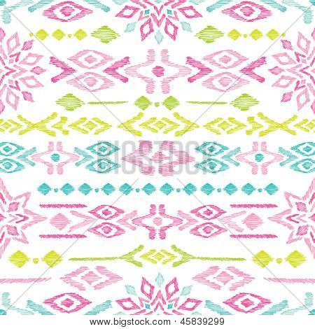 Seamless bright colorful aztec vintage folklore background pattern in vector