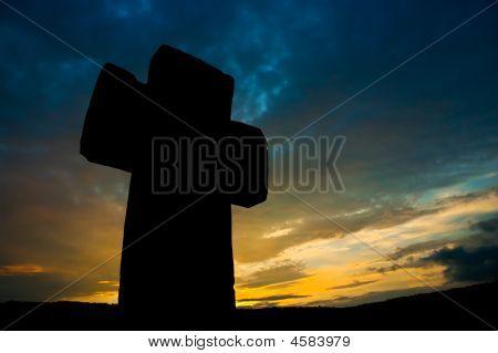 Awe Stone Cross Silhouette