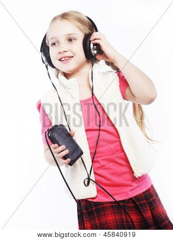 dancing little blond girl headphones music singing on white background