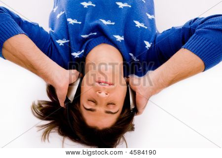 Top View Of Man Tuned In Music