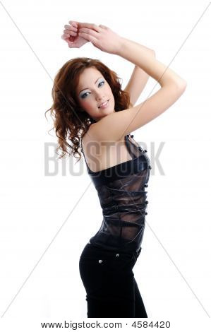 Female Fashion Model Pose On White Background
