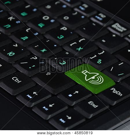Speaker Icon on Computer Keyboard