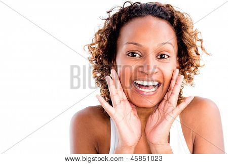 Surprised woman portrait - isolated over a white background