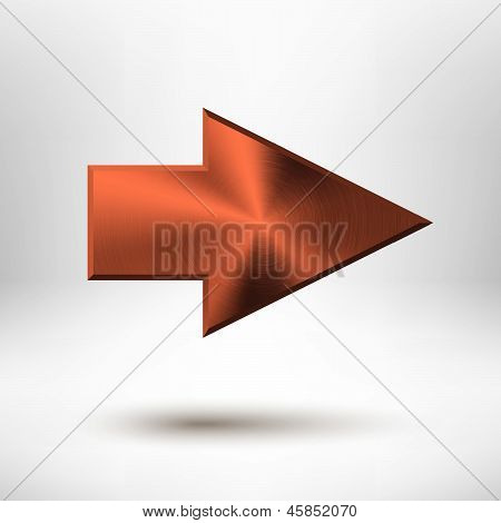 Right Arrow Sign with Bronze Metal Texture