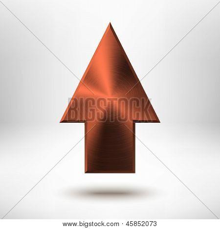 Up Arrow Sign with Bronze Metal Texture
