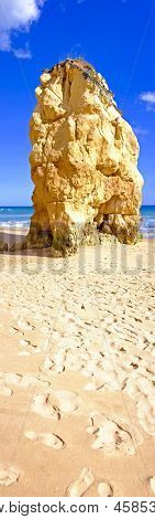 Panorama from huge rock on Praia da Rocha in Portugal