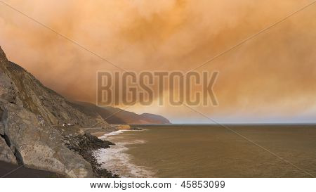 Smoke Plumes Over PCH-1, CA