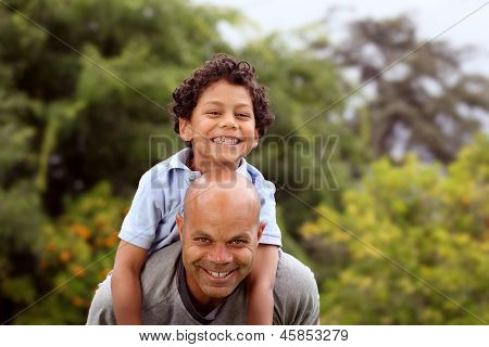 Mixed race father and son