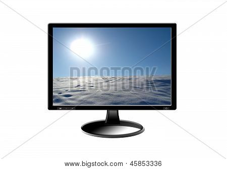 Black Monitor With Image
