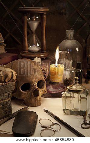Alchemy Still Life With Skull