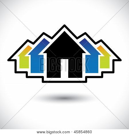 House(home) & Residence Sign For Real Estate- Vector Graphic