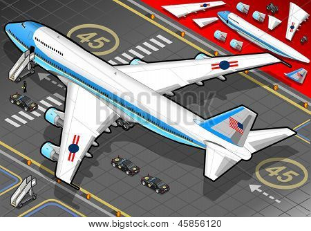 Isometric Air Force One In Rear View