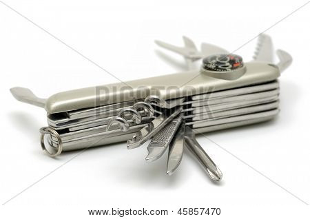 Pocket knife in isolated white background