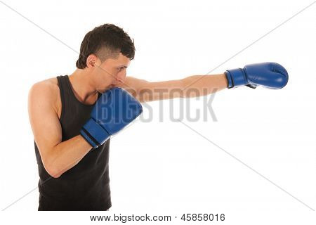 Boxing man with blue gloves isolated over white background